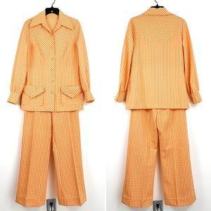 Vintage 70s leisure suit, orange & white plaid polyester, 2-piece jacket & pants